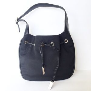 Gucci vintage nylon leather drawstring hobo bag